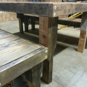 Large Natural Finish Reclaimed Fence Wood Kitchen Table with 2 Benches