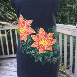 Poinsettia and berry Christmas apron with pockets, baking gifts, hostess gift, holiday apron for women, best selling items, Christmas gift