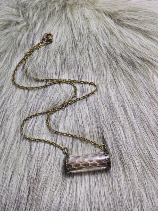 Oddities Vial Black Snake Scales Necklace