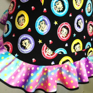 Betty Boop Apron for Women,  Pastel Portraits on Black with Polka Dot Ruffle, Retro Kitchen Decor