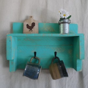 Teal Pallet Wood Mug Holder with Shelf, Teal Pallet Shelf with Coffee Mug Holder, Rustic Teal Mug Holder, Rustic Home Decor