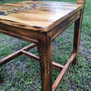 Custom table and two chairs with fractal Burns,blue resin river,and wood Burns threw out