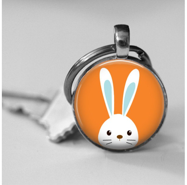 Peekabo Bunny Glass Photo Pendant Necklace or Key Chain choose background color Whimsical Bunny Necklace Rabbit Jewelry Easter Bunny Gift
