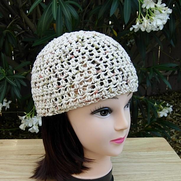 Light Natural Brown 100 Cotton Summer Beanie Crochet Hat Aftcra