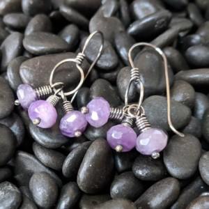 amethyst cluster - Sterling Silver earrings - wirework jewelry - february birthstone - gift for her - romantic earrings - Artisan dangles