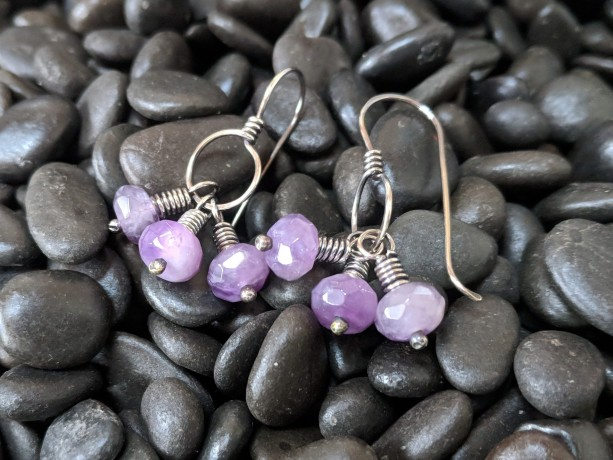 amethyst cluster - Sterling Silver earrings - wirework jewelry - february birthstone - gift for her - romantic earrings - Artisan dangles