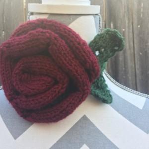 Hand Knit Red Rose Necklace, Headband, Bracelet