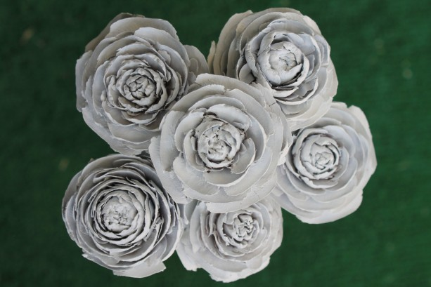 6 Customizable Hand-Painted Cedar Rose Pine Cone Flower Bouquet
