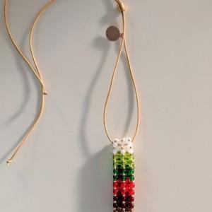 Gradient Christmas Holiday Czech Glass Vertical Slide Bar Pendant necklace