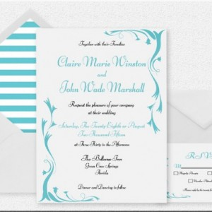 Turquoise and White Printable Wedding Invitation , Elegant and Fun , Customized Invitation , Digital Invitation