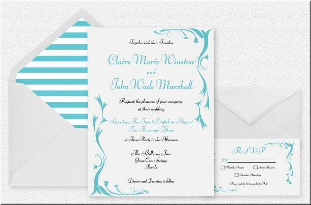 Turquoise and White Printable Wedding Invitation , Elegant and Fun , Customized Invitation , Digital Invitation
