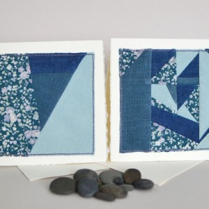 Floral patchwork cards -- set of two