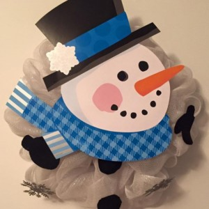 Blue Deco Mesh Snowman Wreath