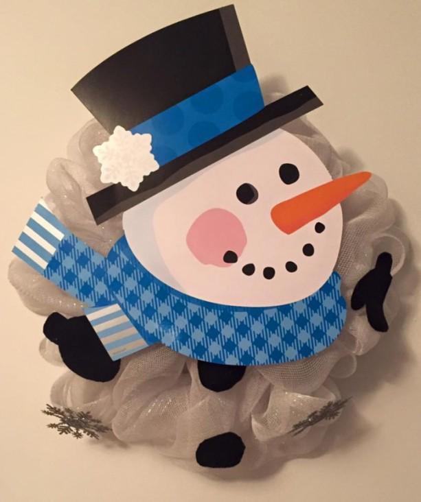 Blue Deco Mesh Snowman Wreath