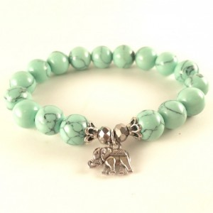 Mint elephant bracelet