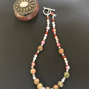 Natural Unakite,Rose Quartz,Red Jasper,Silver Plated Necklace