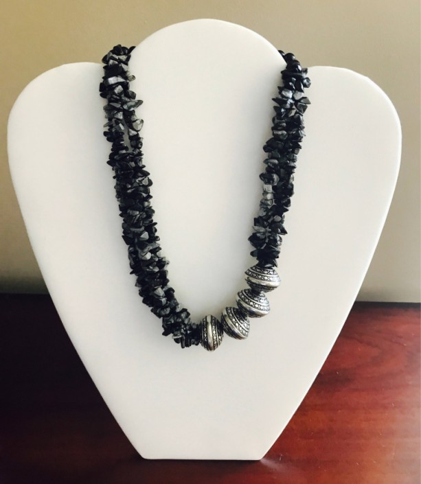 3 Strand Natural Snowflake Obsidian,Onyx,Silver Plated Rondelle Necklace