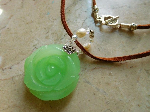Natural Dye brown Leather Boho necklace with Aventurine rose carved pendant and freshwater pearls. #N0083