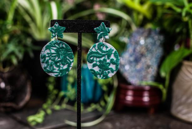 Green & grey polymer clay oval dangle earrings