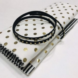 Gold Polka Dot Black & White Stripe Makeup Brush Roll Case with Gold Stud Suede Wrap
