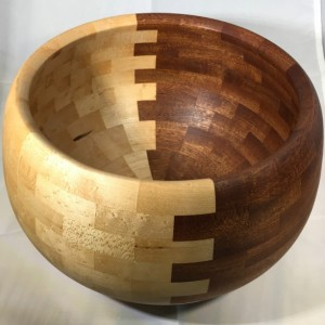 Wooden Bowl Birdseye Maple and Sapele
