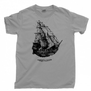 Flying Dutchman's Ship Men's T Shirt, Sailing Under The Sea Davy Jones Locker Shipwreck Pirate Treasure Ocean Deep Unisex Cotton Tee Shirt