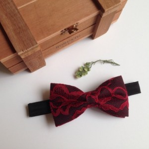 Black and Burgundy Lace Bow Tie - Bourdeaux Bow Tie - Groom Bow Tie - Bridal Bow Tie - Baby Bow Tie - Adult Bow Tie - - Groomsmen Bow Tie