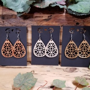 Laser cut - Boho Wooden - Teardrop Dangle Style - Lightweight- Birthday Gift - 3 Finishes Available - Natural, Brown or Lt Red Stained