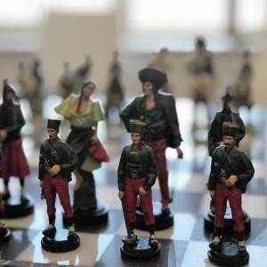 Bandits Tin Handmade Chess Sets - hand painted