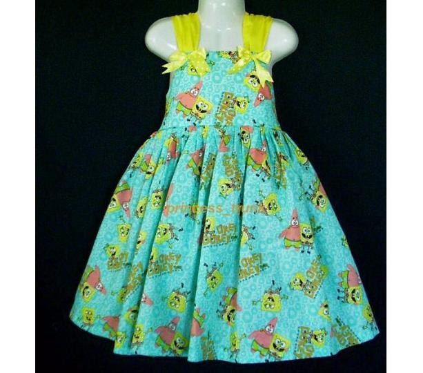 NEW Handmade Nickelodeon Spongebob Patrick Okey Dokey Sun Dress Custom Sz 12M-3Yrs