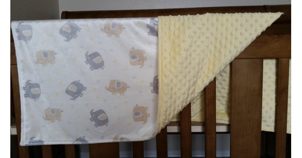 Baby blanket, elephant, yellow gray and white with dot material