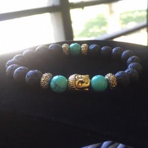 Lava stone & turquoise buddha bracelet