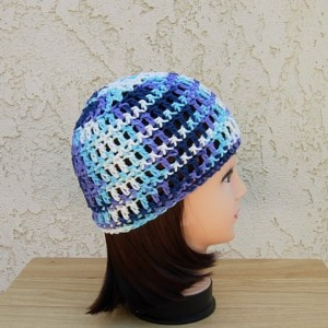 Blue, White, Purple Summer Beanie 100% Cotton Lacy Skull Cap, Women's Men's Crochet Knit Hat, Lightweight Chemo Cap, Ready to Ship in 3 Days
