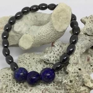 Stackable bracelet, boho style, Lapis Lazuli gemstone, black Hematite self confidence and disolves negativity.