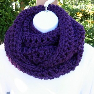 INFINITY SCARF Loop Cowl Solid Dark Purple, Extra Soft, Warm, Long Bulky Eternity Winter Circle Wrap, Chunky Women's Scarf..Ready to Ship in 3 Days