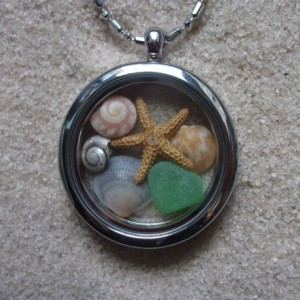 glass locket w. shells, sea glass & starfish