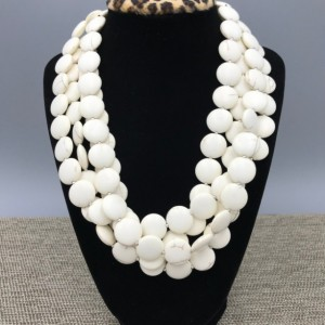 Chunky White Howlite Statement Necklace - 4 strands, Chunky Necklace, White Beaded Necklace, Multi Strand White Statement Necklace, White Stone Necklace
