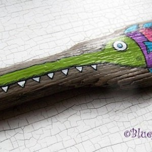 [SOLD] Hilarious SAW FiSH Hand Painted Driftwood Original Folk Art painting Whimsical Lake Erie Coastal Whimsy [SOLD]