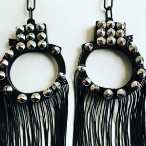 Silver spike handcuff earrings