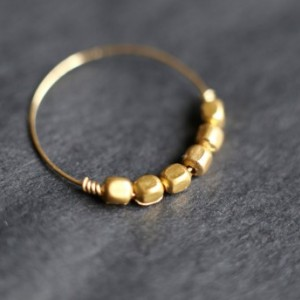 Handmade Minimalist Gold Ring - Thin Gold Band - Stacking Ring - Gold Hematite Ring - Gold Filled Wire - Thumb Ring - Gold Bead Ring