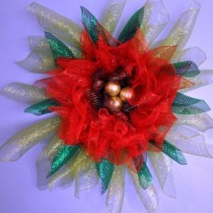 Deco Mesh Poinsettia Wreath