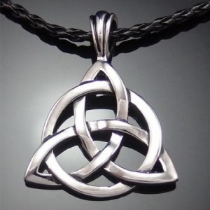 "Celtic Trinity Knot Necklace 20"" braided black cord"