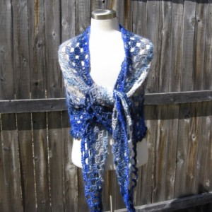 Midnights Dream Shawl - wedding shawl - summer shawl- handmade in the USA by Twisted Blossom Design