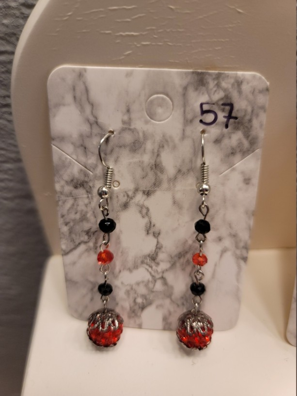 Red and black bead earrings