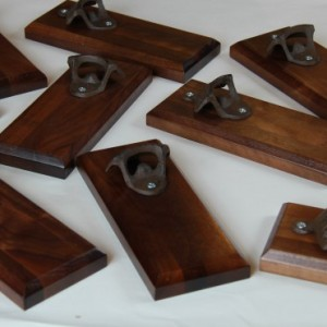 Bottle Opener Magnetic Cap Catcher - Handcrafted Walnut Wood with Antique Bronze Opener - Custom Text/Logo/Design