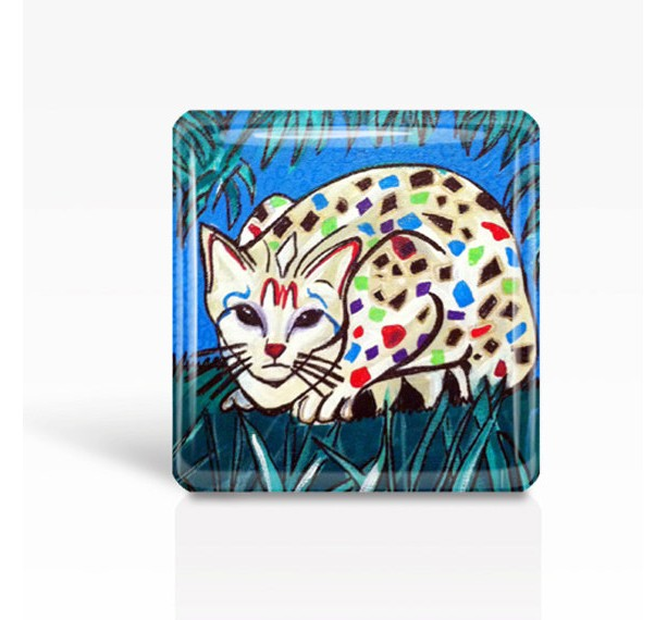"Mexican Folk Art- CAT- Glass MAGNET By Artist A.V.Apostle- 2""x 2"""