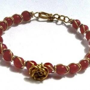 Boho Bracelet, Red Jade Wire Wrapped Bracelet, Rose Accent Bracelet, Gemstone Bracelet, Unique Bracelet, On Sale, Chinese Jade, For Her
