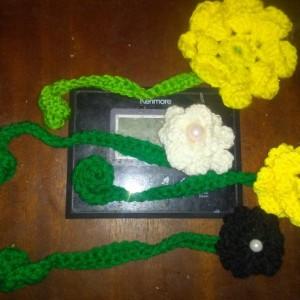 Crocheted flower bookmarks