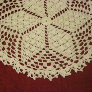 Hand crocheted vintage looking White Bedspread with Popcorn stitching