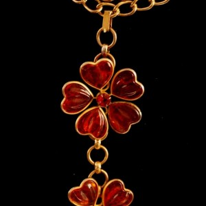 Vintage Haute Couture French Gripoix Runway Flower Necklace Poured Glass Flowers